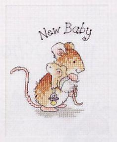 Grille point de croix SOURIS ET SON BEBE - Carte Naissance : Broderie par ladycat