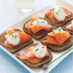 The classical combination of PUMPERNICKEL and SMOKED SALMON gets livened up with a dollop of our TANGY LEMON CREAM. | Health.com