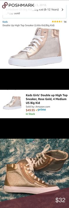 Keds Double Up High Top Sneaker Size 4 Rose Gold Ked Double Up High Tops💕 These were bought to go with dress for Daddy/Daughter Dance. Worn once. Paid $49 on Amazon. Sought after Rose Gold color. Dress is on PM too. 👗 Keds Shoes Sneakers