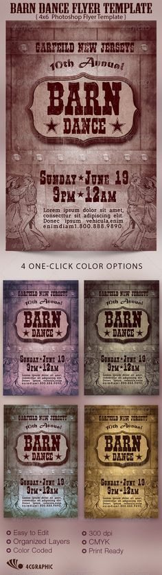 Barn Dance Flyer Template - $6.00 The Barn Dance Flyer Template is great for any western or country theme event, Use it for Hoedown, Rodeo Shows or Happy Hour. In this package you'll find 1 Photoshop file. 4 One-Click color options are included. All layers are arranged, color coded and simple to edit. Sold exclusively on graphicriver.net