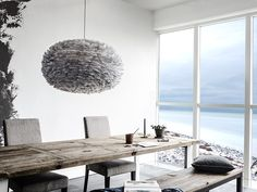 Shop Eos Feather Lampshade Light Grey Pendant Light by Vita Copenhagen. Pendants, Floor and Table Lamps are a simple way to enhance your home or office decor. Glass Pendant Light, Pendant Lamp, Pendant Lighting, Eos, Luminaire Design, Lamp Design, Ceiling Lamp Shades, Ceiling Lights, Feather Lamp