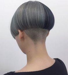Shaved Bob, Shaved Nape, Stacked Bob Hairstyles, Pixie Hairstyles, Short Hair Cuts, Short Hair Styles, One Length Bobs, Half Dyed Hair, Mushroom Hair
