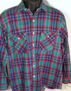 Five Brother Mens Large Thick Flannel Lumberjack Button Down Shirt  #FiveBrother #ButtonFront