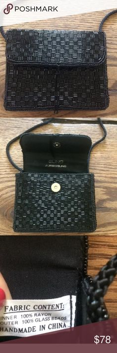 Authentic Alfred Sung Evening Bag Authentic glass checker beaded Alfred Sung evening bag. Braided satin strap, magnetic closure and black satin lining. Measures 5x4x2 inches. Beautiful bag. Alfred Sung Bags