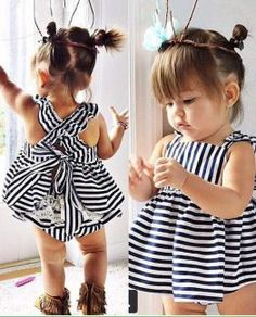 Buy Summer Hot sell baby girls Striped dress kids wear girls Princess dress kids clothing vestidos robe fille Infant at Mama - Thoughtful Shopping Outfits Niños, Newborn Outfits, Toddler Outfits, Cute Baby Girl Outfits, Summer Outfits, Fashion Outfits, Fashion Shoes, Fashion Scarves, Fashion Wear