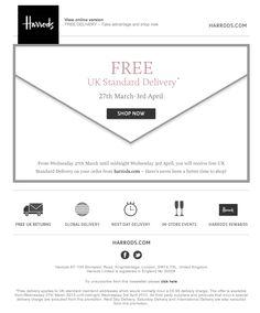 Harrods | 03.2013 Engagement Emails, Newsletter Design, Free Uk, Harrods, Inspiration, Biblical Inspiration, Email Newsletter Design, Inspirational, Inhalation