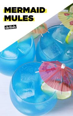 When life's a beach, make Mermaid Mules. Get the recipe at Delish.com. #mermaid #mules #recipe #cocktail #moscowmule #ginger #beer #gingerbeer #vodka #delish #easyrecipe #alcohol