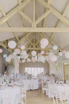 Hyde Barn Cotswolds Pastel Lanterns Easter Barn Vintage China Wedding / http://www.himisspuff.com/100-charming-paper-lantern-wedding-ideas/2/
