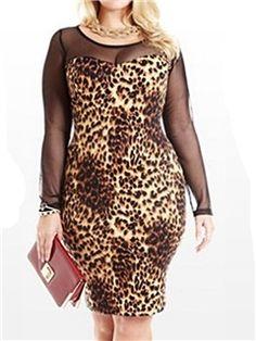Ericdress Plus Size Leopard Sheath Dress