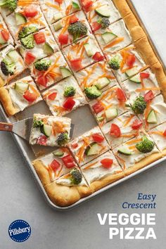 This top-rated, much-loved easy veggie pizza is a favorite go-to for potlucks, tailgate parties, showers, girls' weekends—basically wherever theres a hungry crowd. Plus its a brilliant way to use up whatever veggies you have at the ready.