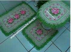 Wilma Crochê: Jogo de Banheiro flor Camélia