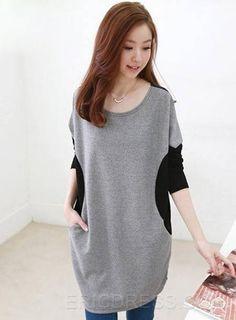 Splendid European Style Fancy Casual Loose Large Size Long Bat T-shirt Long Sleeve T-shirts
