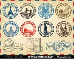 Viajes sello Clip Art Design elementos por GraphicPassion en Etsy