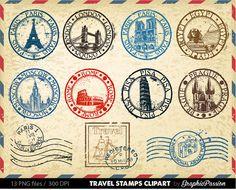 Passport stamps, journal cards, art journal pages, junk journal, travel sta Passport Template, Passport Stamps, Art Journal Pages, Journal Cards, Junk Journal, Travel Stamp, Travel Box, Travel Scrapbook, Travel Themes