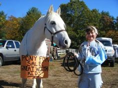 pony for sale good with kids this has to be on of the easiest fany dress costumes for the horse all you need is the sign and for the rider dirty clothes