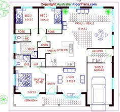 3 Bed Room House Plan:Australian Dream Home design House Plans 3 Bedroom, Ranch House Plans, House Floor Plans, Dream Home Design, House Design, House Plans For Sale, House Plans Australia, Big Bedrooms, Craftsman Style Homes
