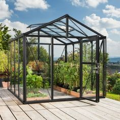 Vitavia Zeus Greenhouse with black frame and Float Glass Glazing. x greenhouse with locking stable door, polycarbonate roof and bar capping. Garden Care, Neck Tatto, Greenhouse Shed, Retractable Awning, Glass Ceiling, Safety Glass, Window Wall, Winter Garden, Growing Plants