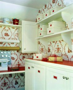 cute sewing room | cute wallpaper for this sewing/craft room! | Sew Crafty!