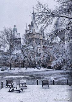 """mademoisellearielle: """" Christmas Castle - Castle of Vajdahunyad, Budapest, Hungary """""""