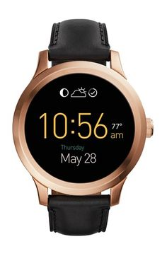 Fossil 'Fossil Q - Founder' Round Leather Strap Smart Watch, 47mm available at #Nordstrom