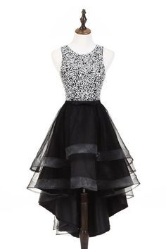 Cute silver sequins high low black tulle homecoming dresses 2018 by la… Cute Prom Dresses, Grad Dresses, Pretty Dresses, Beautiful Dresses, Evening Dresses, Winter Dresses, Dresses Dresses, Short Black Prom Dresses, Winter Maxi