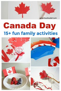 Canada Day Family Activities - Fun family activities to celebrate Canada Day! Fun family activities to celebrat - Holiday Activities, Literacy Activities, Toddler Activities, Preschool Activities, Family Crafts, Crafts For Kids, Canada Day Party, Bryan Adams, Summer School