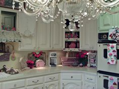 Penny's Vintage Home: Romantic Kitchen Tour : Love alot of the details in this kitchen. I would do less pink though. :) Great inspiration!