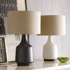 I LOVE these lamps so much! The white and dark wood one is my favorite! Morten Table Lamp | west elm