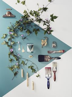 objects arranged over an oversized geometric shape that is off center :: photo styling