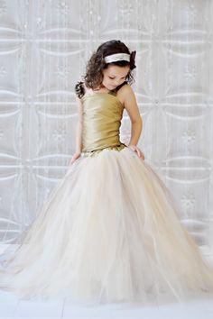 Tutu Dress, Vintage Champagne, Ivory, Gold and Brown tutu Skirt , Gold tutu, FLOWER GIRL DRESS. $215.00, via Etsy.