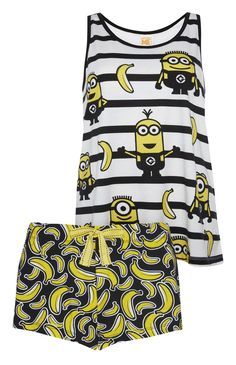 Primark - Minions Banana Vest And Short PJ Set If you haven't already guessed, I am obsessed with minions XD Lazy Day Outfits, Girl Outfits, Casual Outfits, Cute Pijamas, Sleepover Outfit, Pretty Quinceanera Dresses, Cute Pjs, Cute Sleepwear, Disney Pajamas