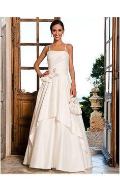 A-line Spaghetti Straps Floor-length Satin Crystal Detailing Wedding Dress