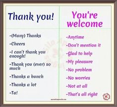 Thanks and You're Welcome -         Repinned by Chesapeake College Adult Ed. We offer free classes on the Eastern Shore of MD to help you earn your GED - H.S. Diploma or Learn English (ESL).  www.Chesapeake.edu