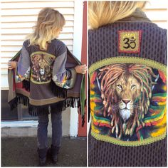 Eco Wrap Jacket, Size O/S, clothing, upcycled, tie dye, hippie, festival, asymmetrical, rasta lion  applique with boho fringe, by Zasra