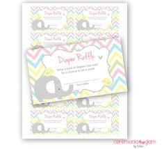 Baby Shower diapers raffle card baby elephant Printable chevron pastel colors