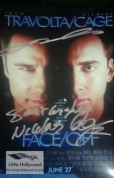 FACE-OFF-AUTOGRAPHED-JOHN-TRAVOLTA-AND-NIC-CAGE-8-10-RP-LUSTRE-PHOTO John Travolta, Face Off, Cage, Legends, Hollywood, Movie, Photos, Ebay, Pictures
