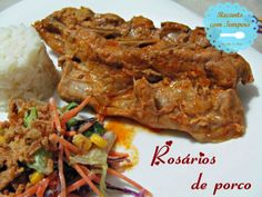 Rosários de porco Steak, Pork, Beef, Cloves Of Garlic, Spices, Beer, Recipes, Kale Stir Fry, Meat