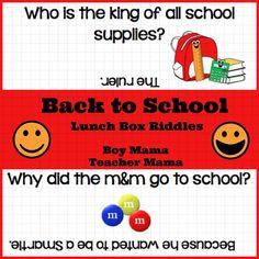 Boy Mama Teacher Mama   Back to School Lunch Box Riddles Printable