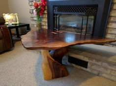 Triangle live edge coffee table by Ryvrwood on Etsy