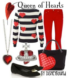 """Make way for the beautiful, casual Queen of Hearts!! The shoes and the combination of white, red, and black are to die for in this """"Alice in Wonderland"""" Disneybound outfit!! ♥"""
