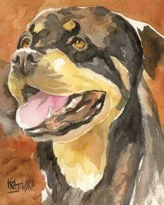 Rottweiler Art Print of Original Watercolor Painting - 8x10 Dog Art. $12.50, via Etsy.