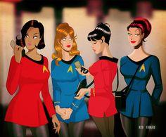 Star Trek Girls by Des Taylor Star Trek Party, Star Trek 1, Star Trek Gifts, Watch Star Trek, Star Trek Ships, Star Trek Animated Series, Star Trek Original Series, Star Trek Cosplay, Star Trek Beyond