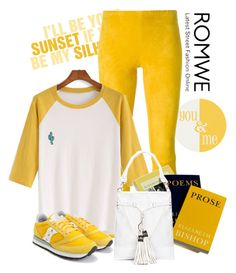 """Romwe color block embroidered t shirt"" by lorrainekeenan on Polyvore featuring STOULS and Saucony"