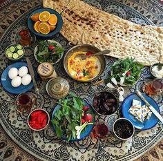 Iranian #breakfast #brunch with  #Sangak flat bread  realiran.org  #Iran_Style