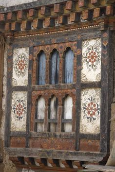 Photograph of Traditionally painted wooden window in Rinchengang village - Bhutan - Asia