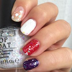 OPI Snow Globetrotter, glitter topper with white and iridescent glitter (swatched alone, and over white, red, & purple)