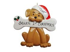 Personalized Tan Dog Holding A Bone Christmas Ornament