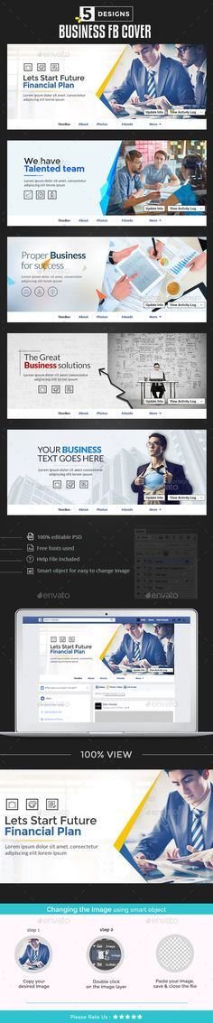 Business Facebook Cover Templates PSD  - 5 Designs
