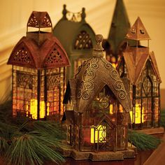 Glass & Metal Architectural Candle Lantern