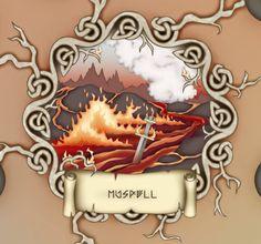 """Múspellheim. Design by Sól Hrafnsdóttir for Stefán Pétur Sólveigarson's board game """"Ragnarök""""."""